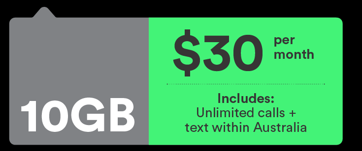Mobile plan - $30/mo - 10GB